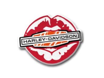 """Aufnäher """"Kiss Harley® Iron On"""", Harley-Davidson, Rot/Weiß/Orange"""