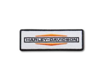 """Aufnäher """"Stacked Logo Small Iron On"""", Harley-Davidson, Weiß/Orange/Schwarz"""