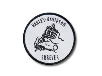 """Aufnäher """"Harley Forever Iron On"""", Harley-Davidson, Weiß/Schwarz"""
