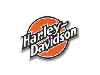 """Aufnäher """"Circle Emblem"""", Schriftzug Harley-Davidson, Orange/Schwarz/Weiß"""