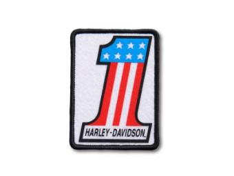"""Anfnäher """"#1"""", Small, Harley-Davidson, Weiß/Rot/Blau/Schwarz"""