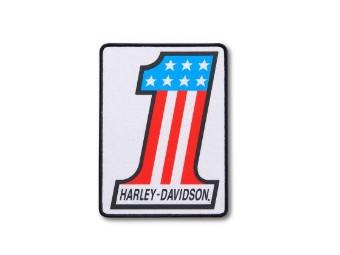 """Aufnäher """"#1"""" Large, Harley-Davidson, Weiß/Rot/Blau/Schwarz"""