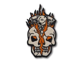 """Aufnäher """"Skull Engine Flames"""", Large, Harley-Davidson, Beige/Orange/Schwarz"""