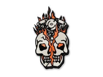 """Anstecker """"Skull Bust Enamel Pin"""", Harley-Davidson, Beige/Orange/Schwarz"""