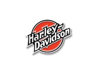 """Anstecker """"Circle Emblem"""", Schriftzug Harley-Davidson, Orange/Schwarz/Weiß"""