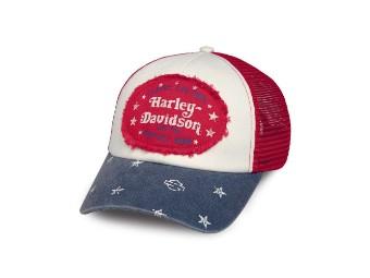 Cap, Colorblock, Americana, Trucker, Harley-Davidson, Weiß/Rot/Blau