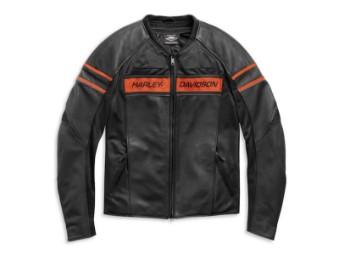 Lederjacke, Brawler, CE-geprüft, Harley-Davidson, Schwarz