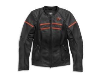 Lederjacke, Brawler, Harley-Davidson, Schwarz/Orange