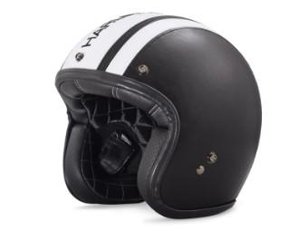 Helm, Lederbezogener Retro B01 3/4, Harley-Davidson, Schwarz/Weiß