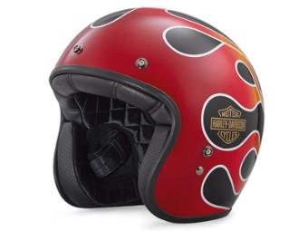 Helm, Retro Flame, Harley-Davidson, Rot/Schwarz/Orange/Weiß