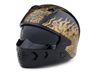 Helm, X07 Goldusa 2-in-1, Harley-Davidson, Schwarz mit goldenen Applikationen