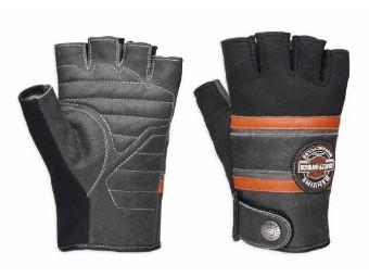 Handschuhe, Fingerlos, Mix Media Coolcore, Harley-Davidson, Schwarz/Orange/Grau