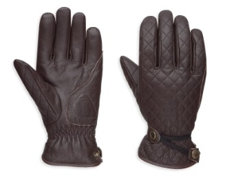 Handschuhe, Messenger Leather, Harley-Davidson, Dunkelbraun