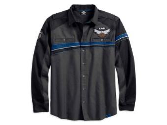 Hemd, 115th Anniversary Vented, Harley-Davidson, Grau/Schwarz/Blau