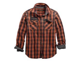 Hemd, Oak Leaf Plaid, Slim Fit, Harley-Davidson, Orange/Schwarz