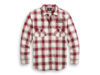 Hemd, Freedom Plaid, Harley-Davidson, Weiß/Rot/Schwarz
