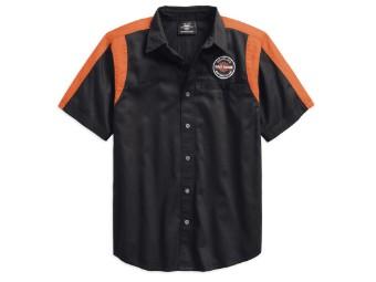 Hemd, Genuine Oil Can, Harley-Davidson, Colorblock, Schwarz/Orange Streifen