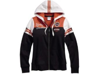 Pullover, Classic Colorblock, Harley-Davidson, Schwarz/Weiß/Orange