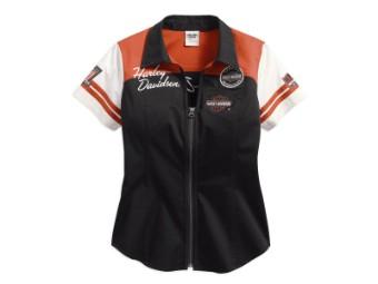 Bluse, Classic Colorblock, Harley-Davidson, Schwarz/Orange/Weiß