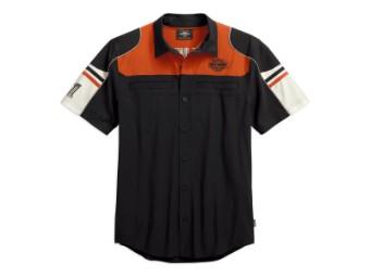 Hemd, Colorblock Performance, Harley-Davidson, Schwarz/Orange/Weiß