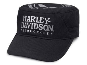 Cap, Metallic Foil Willie G Skull Flat Top, Harley-Davidson, Schwarz