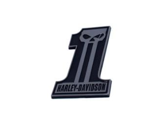 Aufkleber, #1 Skull, Harley-Davidson, Schwarz
