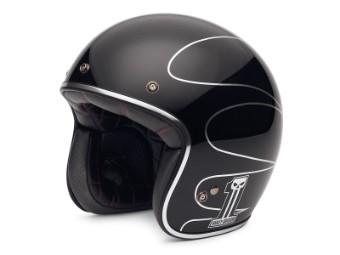 Helm, Elite Retro 3/4, Harley-Davidson, Schwarz/Silber