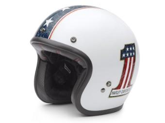 Helm, Americana Retro, Harley-Davidson, Weiß/Blau/Rot