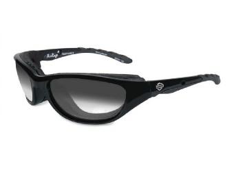 Sonnenbrille, Airrage LA, Harley-Davidson, Graue Gläser, Schwarzglänzendem Rahmen