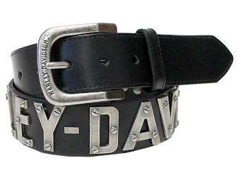 Gürtel, Metal Font, Leder, Harley-Davidson, Schwarz