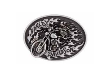 Gürtelschnalle, High on Fire, Harley-Davidson, Silber