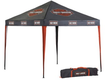 Pavillon, Bar & Shield, Harley-Davidson, Schwarz/Orange
