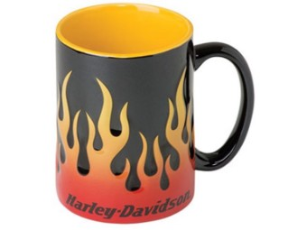 Becher, Sculpted Flames, Harley-Davidson, Schwarz/Orange
