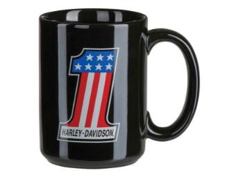 Keramikbecher, Number #1, Harley-Davidson, Schwarz