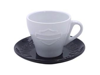 Tasse mit Untertasse, Bar & Shield, Harley-Davidson, Schwarz/Weiß