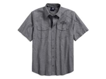 Hemd, Kurzarm, Vintage, Harley-Davidson, Grau