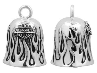 Ride Bell, Silver Flames, Bar & Shield, Harley-Davidson, Silber