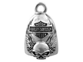 Ride Bell, Winged Skull Bar & Shield, Harley-Davidson, Silber