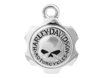 Ride Bell, Axel Shape, Willie G. Skull, Harley-Davidson, Silber