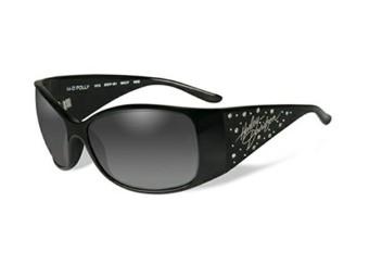 Sonnenbrille, Polly, Harley-Davidson, Grey Fade, Gloss Black Rahmen mit Steinen
