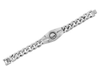 Harley-Davidson® Men's Willie G Skull Logo Steel Chain Bracelet, Silver HSB0202