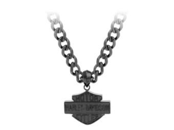 Halskette, Bar und Schild, Harley-Davidson, Schwarz