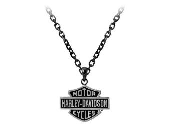Halskette, Black Edge, Bar & Shield, Harley-Davidson, Schwarz