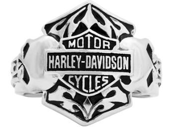 Ring, Double Skull, Harley-Davidson, SIlber
