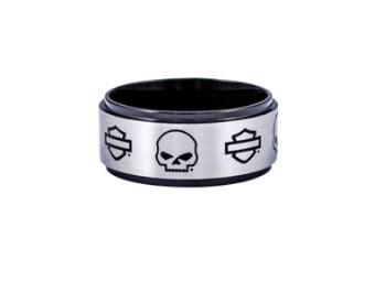 Ring, Skull und Bar & Shield, Harley-Davidson, Schwarz/Edelstahl