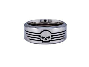 Ring, Skull with Lines, Harley-Davidson, Schwarz/Edelstahl