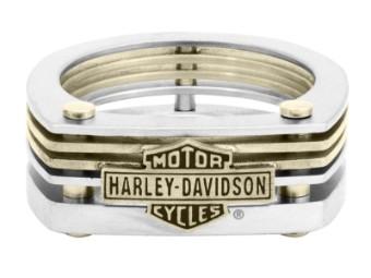 Ring, Bar & Shield, Cut-Out, Harley-Davidson, Messing & Edelstahl