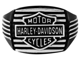 Ring, Black Edge Square, Harley-Davidson, Schwarz/Silber