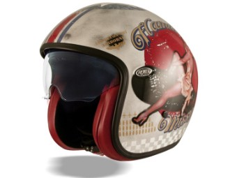 Helm, Vintage, Pin Up Old Style, Premier, Rot