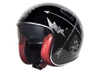 Helm, Vintage, NX Silver, Chromed, Premier, Schwarz/Silber